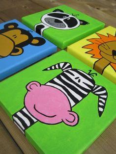 Nursery Paintings 6x6 Original Art by DaRosa SET of 4 Custom canvases