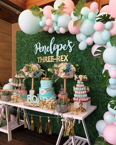 Take a look at this stunning dinosaur birthday party! Love the dessert table! - Take a look at this stunning dinosaur birthday party! Love the dessert table! See more party ideas - Decoration Birthday, Decoration Evenementielle, Dessert Table Birthday, Birthday Backdrop, Birthday Desserts, Birthday Party Decorations For Adults, Birthday Banners, Birthday Invitations, Dinasour Birthday