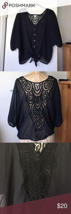 ✨PLUS SIZE✨ Sheer Crochet Tie-Waist Dolman Blouse Sheer black dolman blouse with crochet lace back detail, and tie-waist front. Very cute and chic, can be dressed down or up, or wear a a cover up to the beach! Perfect all year round ! Always open to offers! Bubble B Tops Blouses