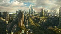 A zombie apocalypse city | The remaining buildings will be taken back by the forces of nature ...