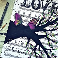 One of my favourite music sheet paintings! I love the way the butterflies turned out :) #etsy #sasperrydesigns #art #acrylicpainting #butterfly #butterflypainting #butterflyart #sheetmusic #musicgift #engagementgift #nature #purple #butterflywedding #flyaway #sketch #love #uniqueart by sasperrydesigns