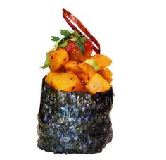 butternut squash topped with chili sauce & cilantro. beyond sushi. Vegan Sushi Rolls, Healthy Sushi, Eating Healthy, Best Vegan Restaurants, Nyc Restaurants, Vegan Style, Vegan Fashion, Butternut Squash, Cilantro