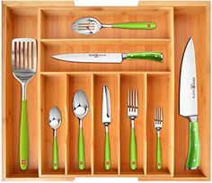 Amazing offer on ROYAL CRAFT WOOD Bamboo Kitchen Drawer Organizer - Expandable Silverware Organizer/Utensil Holder Cutlery Tray Grooved Drawer Dividers Flatware Kitchen Utensils online - Newtrendyfashion Kitchen Utensil Organiser, Silverware Drawer Organizer, Utensil Drawer Organization, Silverware Tray, Cutlery Holder, Drawer Dividers, Drawer Organisers, Kitchen Utensils, Kitchen Dining