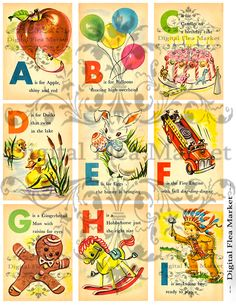 Printable Childrens Vintage Illustrated ABC Alphabet Flash Cards Sheet Music ATC Digital Collage By DigitalFleaMarket