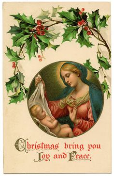 Old World Christmas Image - Baby Jesus and Mary - The Graphics Fairy