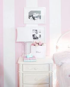 Pink and white striped wall, pink aesthetic #pinkaesthetic pink walls, pink decor, feminine home, feminine decor, Audrey hepburn decor