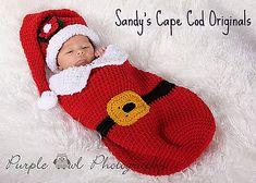 Ravelry: 311 Baby Cocoon Set, Little Santa pattern by Sandy Powers (free pattern)
