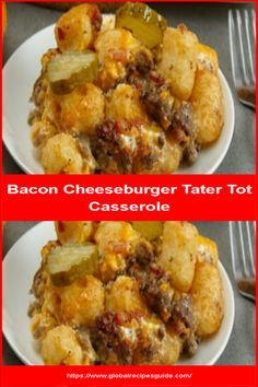 Bacon Cheeseburger Tater Tot Casserole - Daily World Cuisine Recipes Bacon Cheeseburger Tater Tot Casserole - Daily World Cuisine Recipes Burger Toppings, Cheese Burger Soup Recipes, Jalapeno Popper Dip, Slow Cooker Bacon, Slow Cooker Soup, Oven Bacon, Bacon Bacon, Tater Tot Recipes, Casserole Recipes
