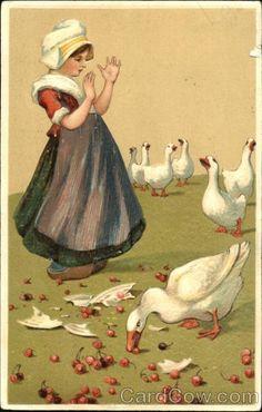 Dutch girl and geese Dutch Children