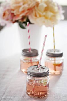 repurpose jars into a cute summer drinking glass! Daisy cut-out available in rustic bronze, antique pewter, antique gold   found at www.fillmorecontainer.com   at wholesale pricing.