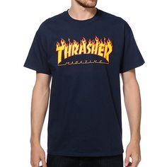 Thrasher Flame Logo T-Shirt ($25) via Polyvore featuring tops, t-shirts, logo top, blue tee, logo tees, blue t shirt and logo t shirts