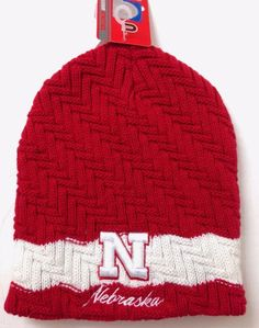 Chunky Cable Knit NEBRASKA CORNHUSKERS BEANIE Women Ladies Winter Ski Hat Husker #ColosseumAthletics #NebraskaCornhuskers