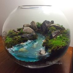 Moss landscape with glow in the dark resin river