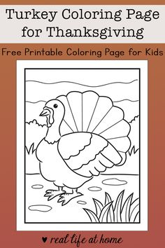 Looking for a fun coloring page for Thanksgiving? Here is a free printable Turkey Coloring Page for kids with a turkey in an outdoor scene.