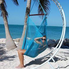 Amazon.com : Large Caribbean Hammock Chair (Light Blue) 6/Case : Patio, Lawn & Garden