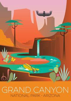 Grand Canyon 1 drucken – Becky Zrinsky – Join in the world National Park Posters, National Parks Usa, Grand Canyon National Park, Party Vintage, Vintage Crafts, Travel Illustration, Rabbit Illustration, Digital Illustration, Parcs