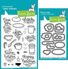 Amazon.com: Lawn Fawn Love You A Latte Clear Stamp and Die Set - Includes One Each of LF704 (Stamp) & LF705 (Die) - Custom Set: Arts, Crafts & Sewing