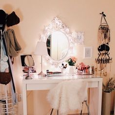 love this.even if i cant find a dresser for a vanity, this mirror is everything. it makes the space.