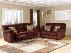 Living Room Decorating Ideas Burgundy Sofa burgundy sofa, love seat, chairs; beige wall; neutral overall with