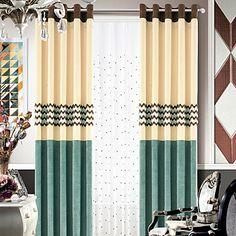 (Yksi pari) Chenille moderni polyesteri vuorattu verho – EUR € 82.49