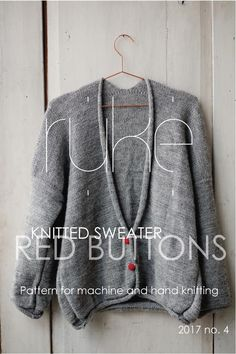 Knitting pattern for red button sweater - PDF downloadable