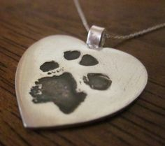 Valentine Heart Paw Print Pendant for Pet Lover's - Made from YOUR pet's paw print