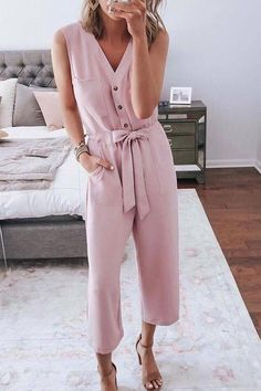 EBUYTIDE Gentle Pink V-Neck Sleeveless Slim Fit Button Jumpsuit – ebuytide Pink Jumpsuit, Jumpsuit Outfit, Maternity Jumpsuit, Maternity Fashion, Cute Jumpers, Overalls Women, Rompers Women, Pattern Fashion, Sexy
