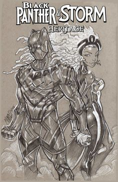 """Black Panther & Storm """"Heritage"""": In this alternate timeline, Ororo and T'Challa's continued marriage successfully form a loving b. Black Panther Storm, Black Panther Art, Black Panther Marvel, Black Cartoon Characters, Comic Book Characters, Comic Books Art, Book Art, X Men, Hulk"""