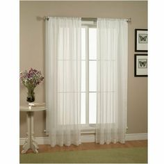 """Pair of White Sheer Panel Window Treatment Curtains by HLC.ME. Save 65 Off!. $6.95. Each panel is approximately 54"""""""" wide and 84"""""""" in Length. For a full look use 2 panels to cover a standard size window. This picture shows two sheer panels, this package contains two (2) Sheer Panel. Decorate every window with style and sophistication. Allows natural light to flow through the room Add a Sheer Scarf for an elegant finished look (not included) Have pocket insert that create a c..."""