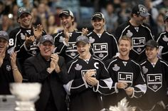 The Los Angeles Kings hockey team, including captain Dustin Brown, front center, laugh during a rally celebrating the team's NHL hockey Stanley Cup championship in Los Angeles, Thursday, June 14, 2012. (AP Photo/ Grant Hindsley) Hockey Stuff, Hockey Teams, Hockey Players, Hockey Stanley Cup, Champions L, Kings Hockey, Los Angeles Kings, World Of Sports, My King