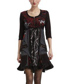 Look what I found on #zulily! Black & Red Abeth Empire-Waist Dress by Desigual #zulilyfinds