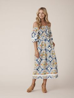 11d3563b134cf Binny - The Victory Hotel Off Shoulder Dress in Orchard Print - My Friend  Alice