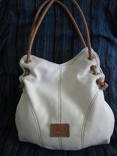White and Tan Faux Leather Hobo Handbag by Fossil | eBay