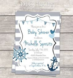 Nautical anchor baby boy baby shower invitations in grey and navy by DigiBabyDesign