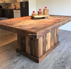 This rustic and bold DIY pallet wood dining table design is perfect for bigger dining areas. It can cater a family with larger number of members. Its strong and durable. The natural wooden finish increases its beauty and grandeur. Its elegant and breaks the monotony of modernity and delicate glass top dining tables.