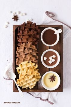 Ombre Schokoladen Waffeln mit drei Sorten Kakao