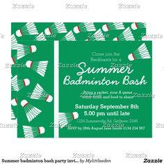 Summer badminton bash party invite green & white designed by www.mylittleeden.com #badminton