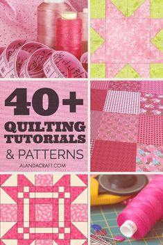 Quilting Tutorials and Quilting Patterns - Over 40 quilting tutorials and patterns with step-by-step video and/or written instructions. All FREE quilting patterns and tutorials at Alanda Craft. Quilting For Beginners, Quilting Tips, Quilting Tutorials, Craft Tutorials, Quilting Projects, Sewing Tutorials, Craft Ideas, Diy Sewing Projects, Sewing Projects For Beginners