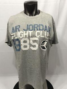 vtg Nike Air Jordan Flight Club 1985 T-shirt Gray Blue Retro Medium  Jordan 78b9dbed9
