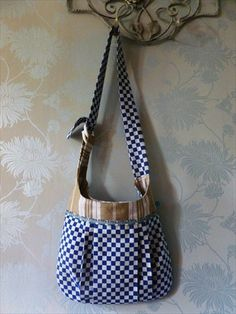 A stunning shoulder bag, funky, retro and unique! Vintage French ticking. on Etsy, $34.00