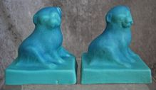 """Van Briggle Pottery """"Puppy"""" Bookends, Turquoise Blue, Late 1920's"""