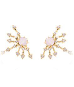 Ear cuff raios dourado com zirconias brancas e rosa quartzo