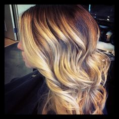 """Ombré color styled out with BB Tonic Spray and Davines Invisible Styling Cream.. 1"""" curling iron waves and finished with Davines Crystal Fixative Hairspray."""