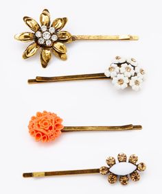 Look at this Gold Floral Bobby Pin Set by John Wind Maximal Art Fashion Accessories, Hair Accessories, Hair Decorations, Scarf Jewelry, Love Hair, Beauty Shop, Types Of Fashion Styles, Pretty Hairstyles, Girly Things