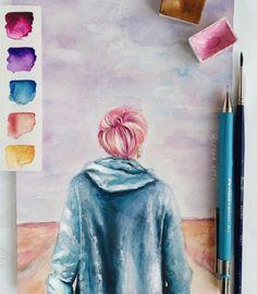 Oh my godif i could do thati can't draw or paint thoughso. Jimin Fanart, Kpop Fanart, Fan Art, Bts Spring Day, Kpop Drawings, Bts Wallpaper, Art Inspo, Art Sketches, Watercolor Art
