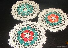 Set of 3 Doilies  45In Green Red Aqua Blue Tea cup by Syntryz, $5.45