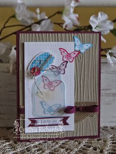 Stampin Up, Perfectly Preserved, SSInk, Ink a doodle Creations, woodgrain, butterflies, mason jar, handmade cards, papillon potpourri