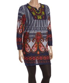 Look what I found on #zulily! Violet & Yellow Paisley Notch Neck Tunic - Plus #zulilyfinds