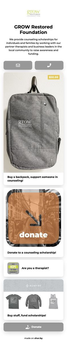 We provide counseling scholarships for individuals and families by working with our partner therapists and business leaders in the local community to raise awareness and funding. #shorby #linkinbio #pinterestinspired Community Organizing, Non Profit, Messenger Bag, Foundation, Satchel, Business Leaders, Counseling, Landing, Families