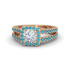 Cushion Diamond 14K Rose Gold Ring with London Blue Topaz - Simone Ring (6mm gem) | Gemvara